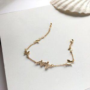 Golden Rhinestone Butterfly Bracelets